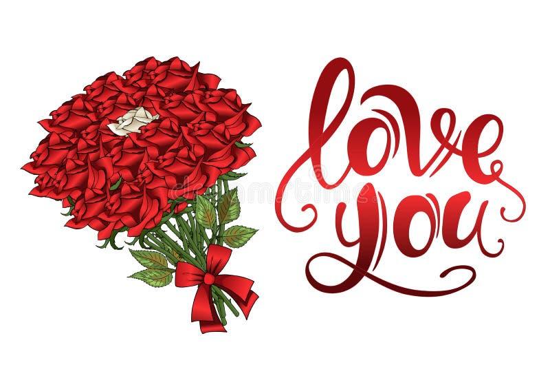 Van het de rozenboeket van de valentijnskaartendag de rode scharlaken uitstekende van letters voorziende prentbriefkaar stock illustratie