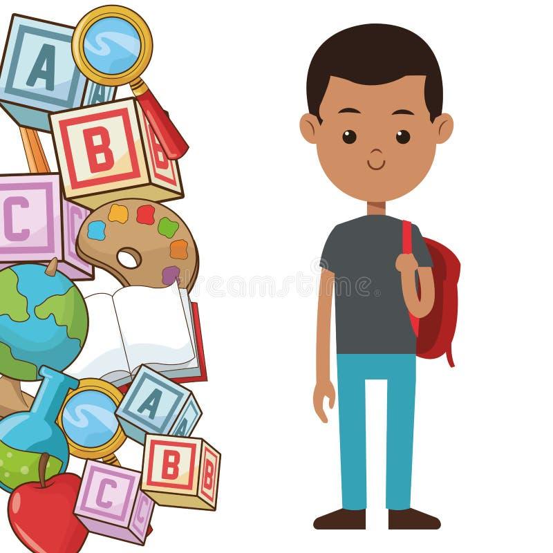 Van het de rugzakelement van de studentenjongen de schoolaffiche royalty-vrije illustratie