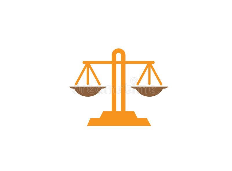 Van het de schalenembleem van het saldosymbool het ontwerpillustratie, wetssymbool royalty-vrije illustratie