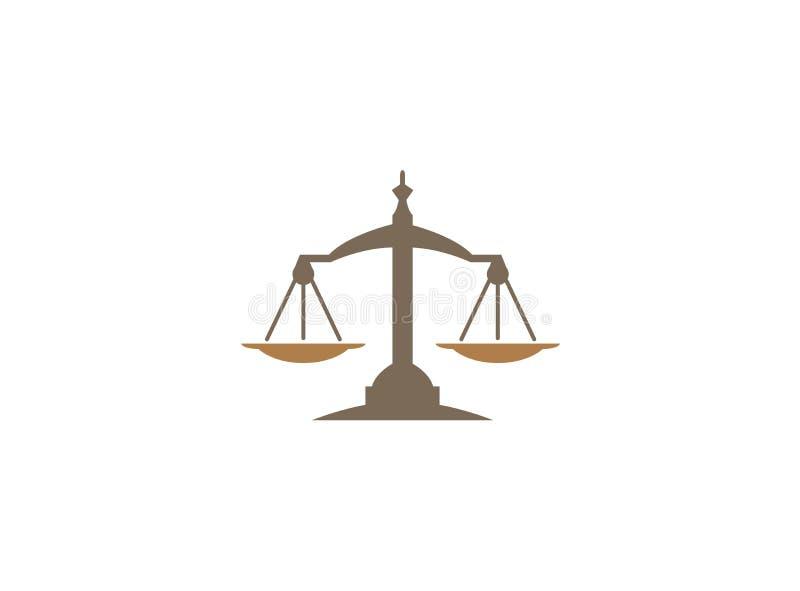 Van het de schalenembleem van het saldosymbool het ontwerpillustratie, wetssymbool voor de illustratie van het embleemontwerp royalty-vrije illustratie