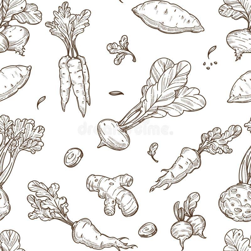 Van het de schets de de naadloze patroon van het wortelvoedsel selderie en wortel royalty-vrije illustratie