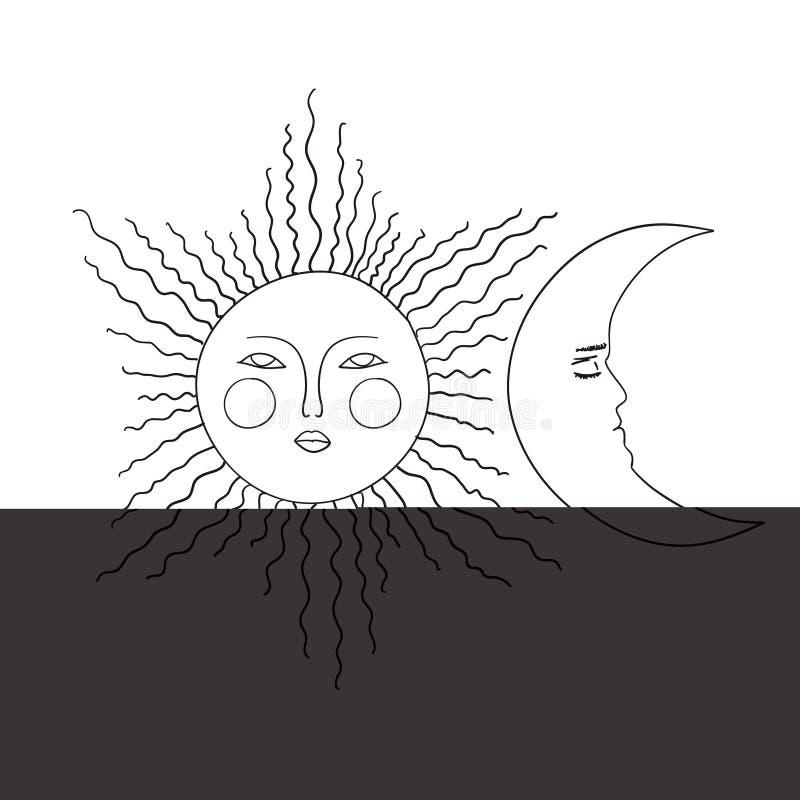Van het de schetsbeeldverhaal van de zonmaan zwart-witte de krabbel vectorillustratie vector illustratie