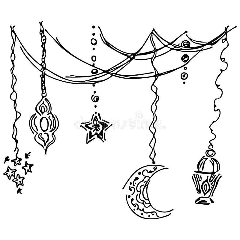 Van het de schetsoverzicht van het Ramadan kareem pictogram vastgestelde die de krabbelstijl op witte achtergrond wordt geïsoleer royalty-vrije illustratie