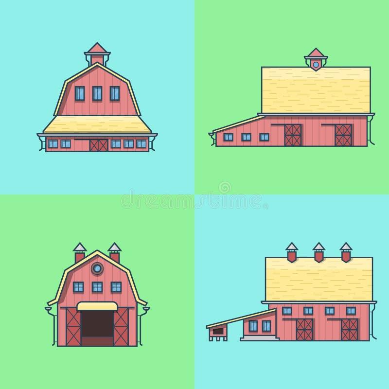 Van het de schuurpakhuis van de landbouwbedrijfrancho het pakhuisgraanschuur han vector illustratie