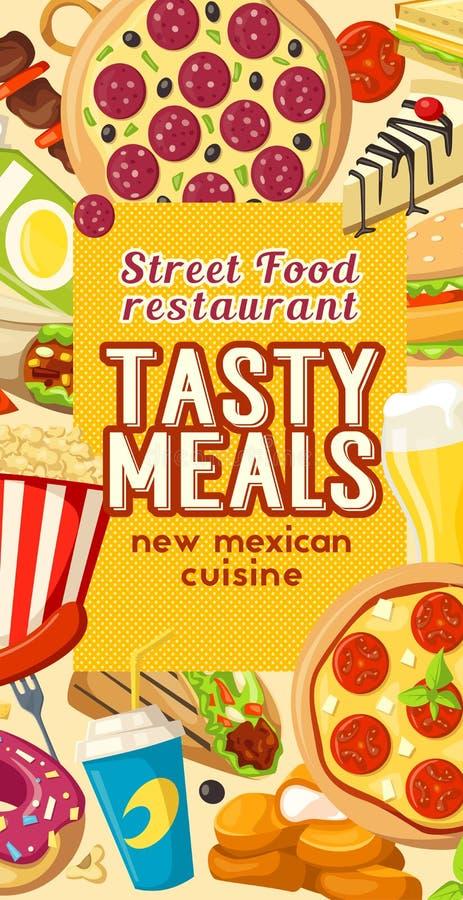 Download Van Het De Snacksrestaurant Van De Snel Voedselstraat Het Vectormenu Vector Illustratie - Illustratie bestaande uit menu, donut: 107707415
