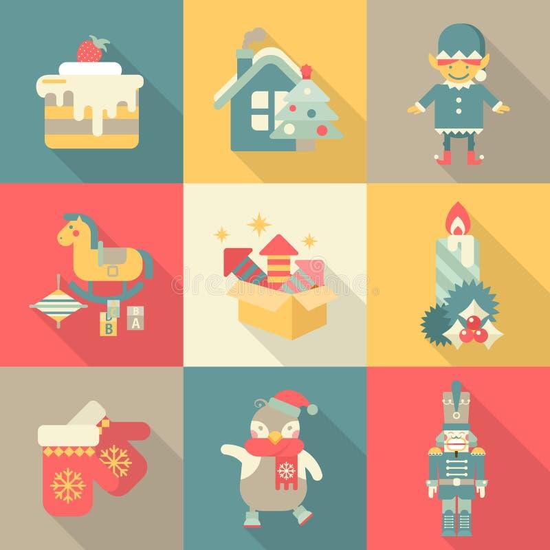 Van het de snoepjesnieuwjaar van Kerstmischararters concept van de het pictogram het vastgestelde vlakke stijl vector illustratie