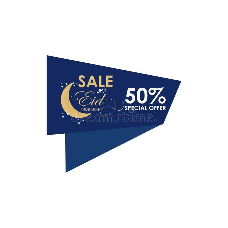 Van het de Speciale aanbieding Vectormalplaatje van Eid Mubarak Sale 50% het Ontwerpillustratie stock illustratie