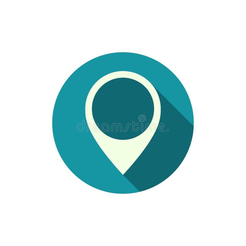 Van het de speldteken van de plaatskaart het blauwe pictogram op witte achtergrond stock illustratie