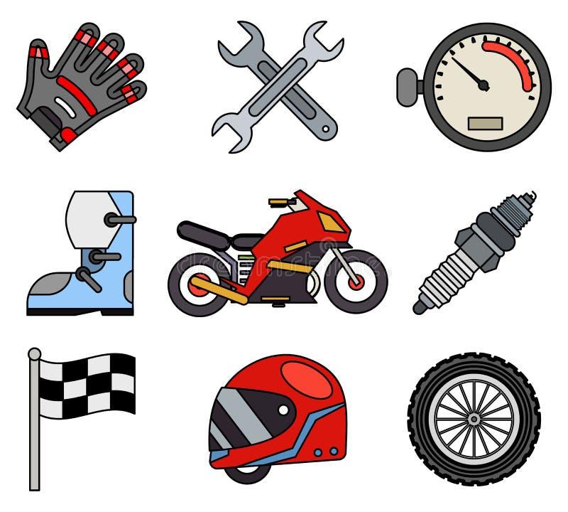 Van het de sportkampioenschap van het overzichtsras van de de motocrossmotor het voertuigpictogrammen geplaatst het vlakke ontwer royalty-vrije illustratie