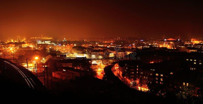 Van het de stadscentrum van Praag de nachtpanorama, Tsjechische Republiek royalty-vrije stock foto's