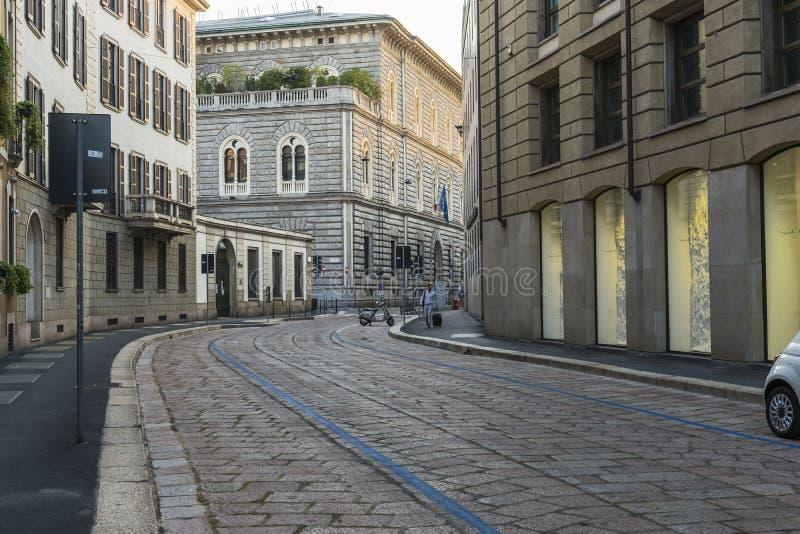 Van het de stadscentrum van Milaan de straatmening royalty-vrije stock afbeelding