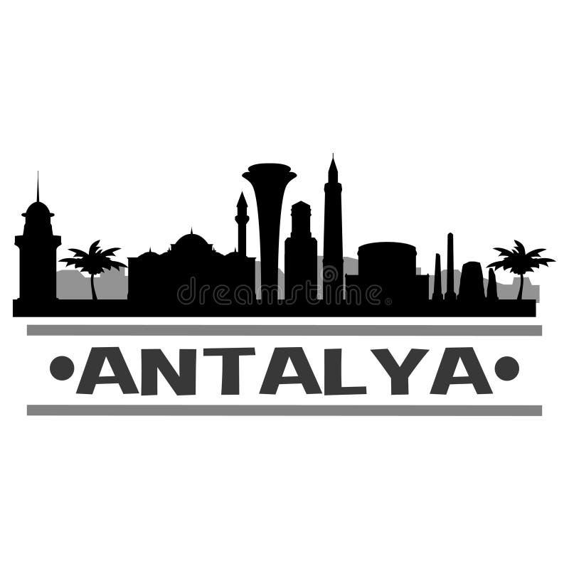 Van het de Stadspictogram van Antalyaturkije Schaduw van Art Design Skyline Night Flat de Vector royalty-vrije illustratie