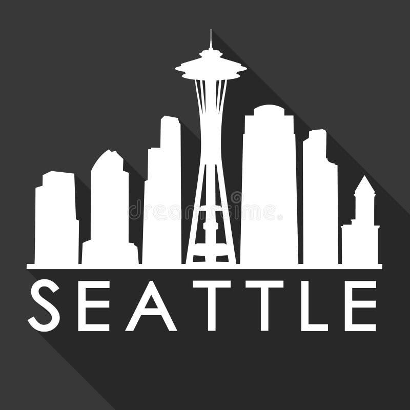 Van het de stadspictogram van Seattle Washington de V.S. Schaduw van Art Design Skyline Night Flat de Vector vector illustratie