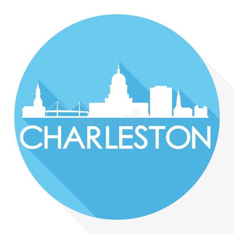 Van het de Stadssilhouet van Charleston South Carolina Round Icon Vectorart flat shadow design skyline het Malplaatjeembleem royalty-vrije illustratie