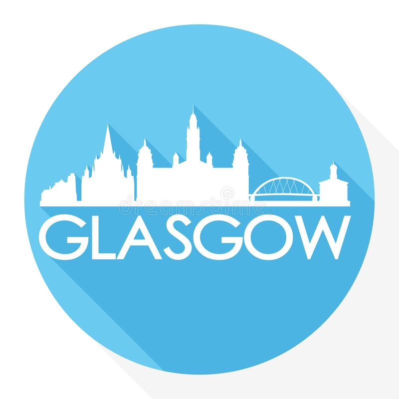 Van het de Stadssilhouet van Glasgow Scotland Europe Round Icon Vectorart flat shadow design skyline het Malplaatjeembleem stock illustratie