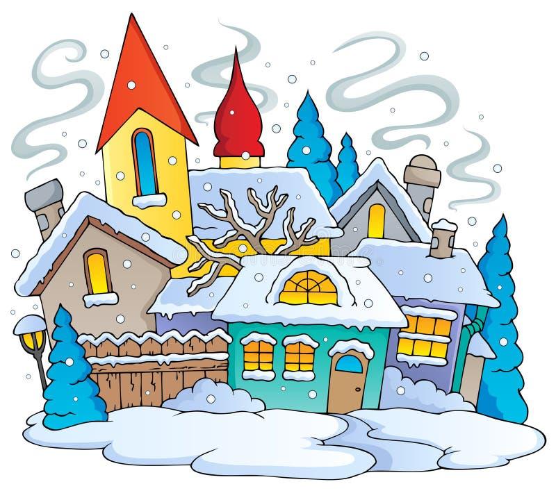 Van het de stadsthema van de winter beeld 1 royalty-vrije illustratie