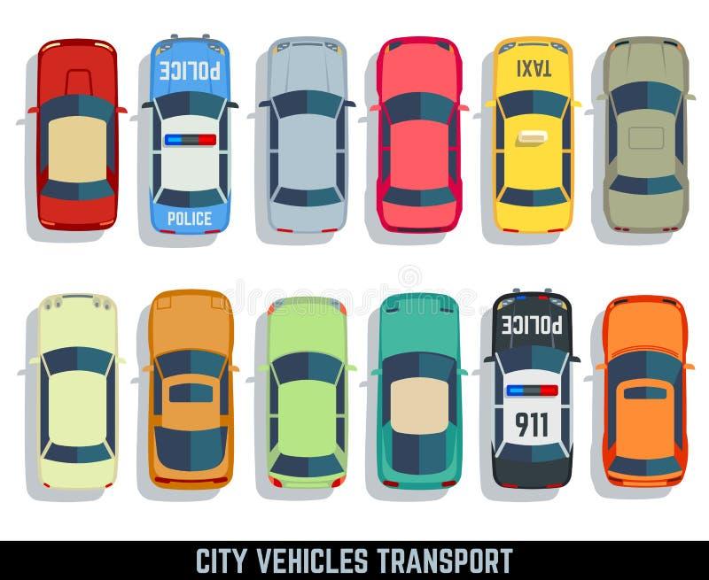 Van het de stadsvoertuig van de auto's hoogste mening vector vlakke geplaatste het vervoerpictogrammen vector illustratie