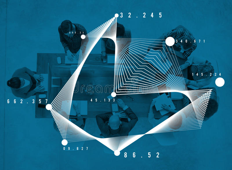 Van het de Statistiekenvoorzien van een netwerk van de wiskundeanalyse de Meetkundeconcept stock fotografie
