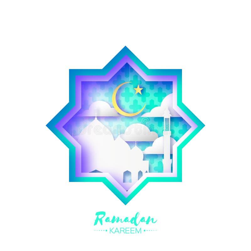 Van het de Stervenster van de origamimoskee de kaart van Ramadan Kareem Greeting met Arabisch arabesquepatroon