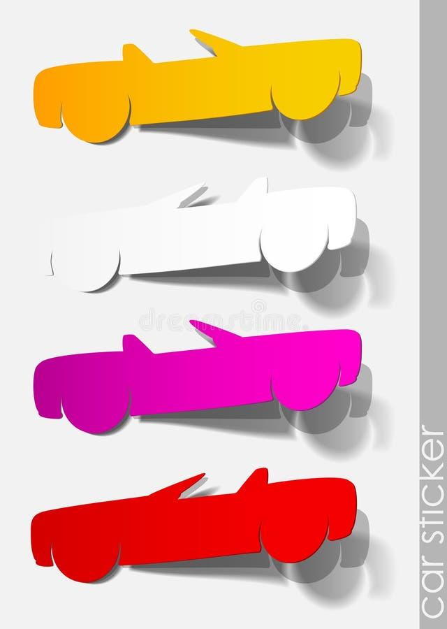 Van het de sticker realistische autovervoer van de auto de reisschaduw royalty-vrije illustratie