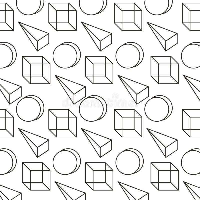 Van het de stijlpatroon van Memphis 3d geometrische de driehoekskubus en cirkel vector illustratie