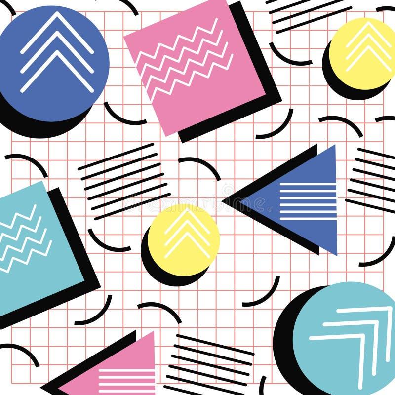 Van het de stijlpatroon van Memphis de driehoekscirkel en vierkant netontwerp vector illustratie