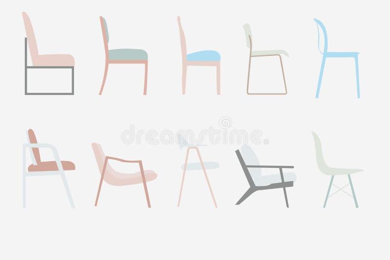 Van het de stoelen vectorkantoormeubilair van de zijaanzichtstijl het ontwerpreeks, illus vector illustratie