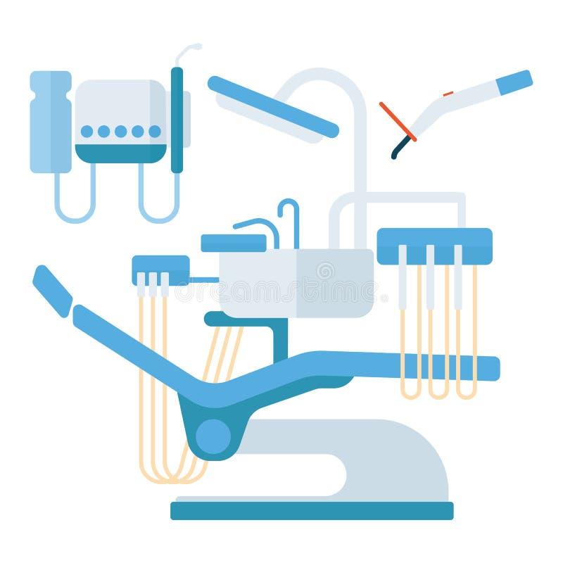 Van het de stomatologiemateriaal van de tandartsstoel de vectorillustratie royalty-vrije illustratie