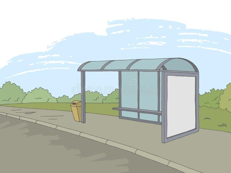 Van het de straatlandschap van de bushalte de grafische kleur vector van de de schetsillustratie vector illustratie