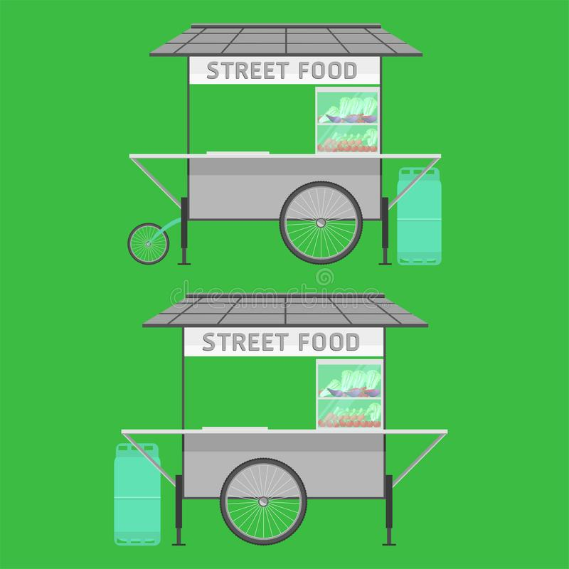 Van het de straatvoedsel van Thailand van de de karwagen van het de wagenkarretje de kruiwagen vectorillustratie stock illustratie