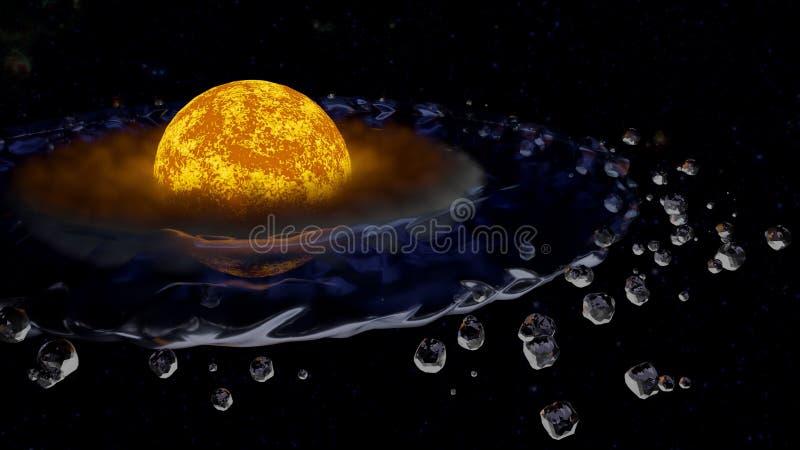 Van het de streek vloeibare water van de sterplaneet de bewoonbare 3d illustratie stock illustratie