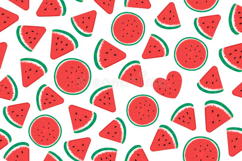 Van het de stukken Breed Naadloos patroon van de de zomerwatermeloen de oppervlakteontwerp Vectordieillustratie op wit wordt ge?s vector illustratie