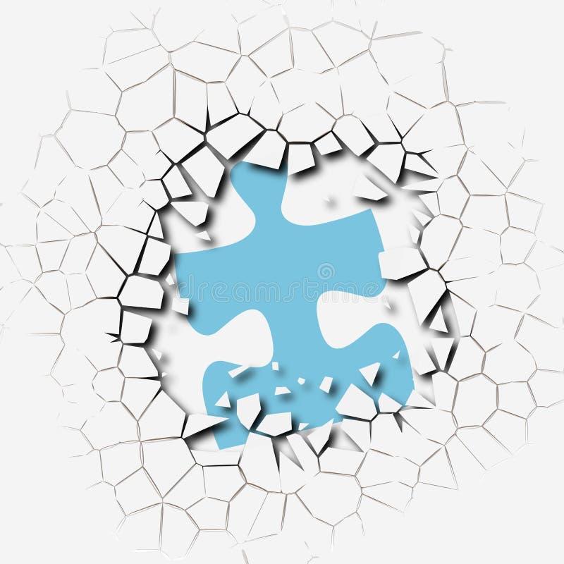 Van het de stukkenprobleem van het raadsel de doorbraak van de de oplossingsonderbreking vector illustratie