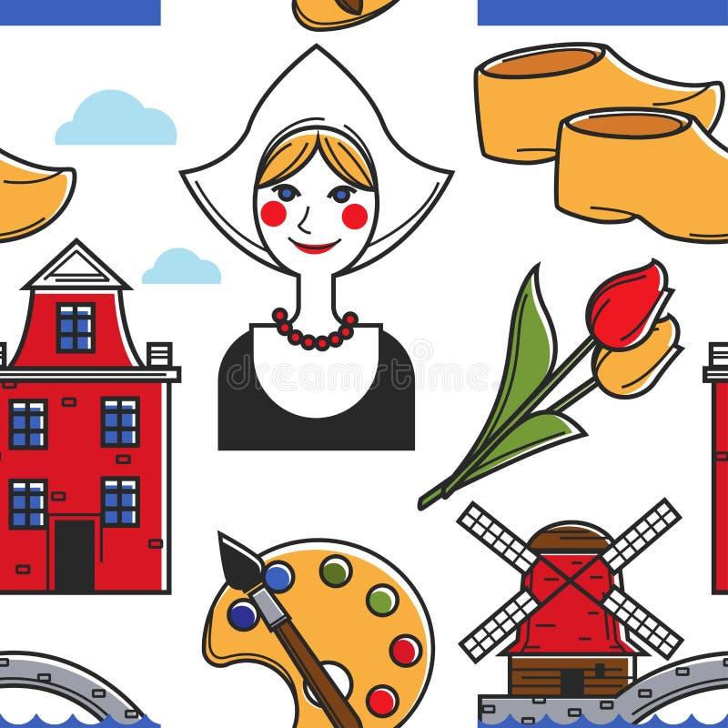 Van het de symbolen de naadloze patroon van Nederland tradities van Holland royalty-vrije illustratie