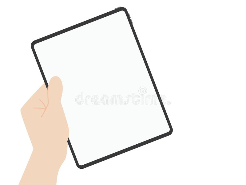 Van het de tablet nieuwe ontwerp van de handvangst nieuwe krachtige de vooruitgangstechnologie royalty-vrije illustratie