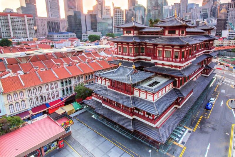 Van het de Tandoverblijfsel van Boedha de Tempel en het Museum bij Chinatown in Singapore royalty-vrije stock foto's