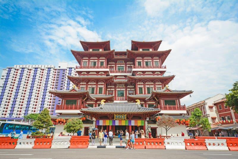 Van het de tandoverblijfsel van Boedha de tempel en het museum in de stad van China, Singapore royalty-vrije stock foto