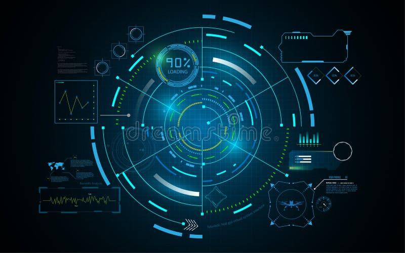 Van het de technologievoorzien van een netwerk van de Hudinterface GUI futuristisch het conceptenmalplaatje royalty-vrije illustratie