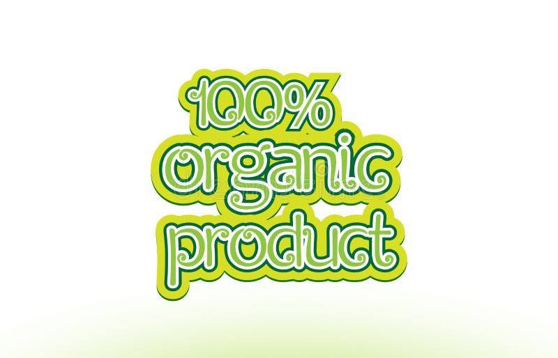 100% van het de tekstembleem van het biologisch productwoord het ontwerp van de het pictogramtypografie vector illustratie