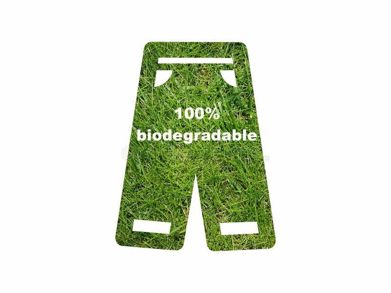 Van het de tekstteken van Eco vriendschappelijk biologisch afbreekbaar die kleren het symboolpictogram op wit wordt geïsoleerd stock illustratie