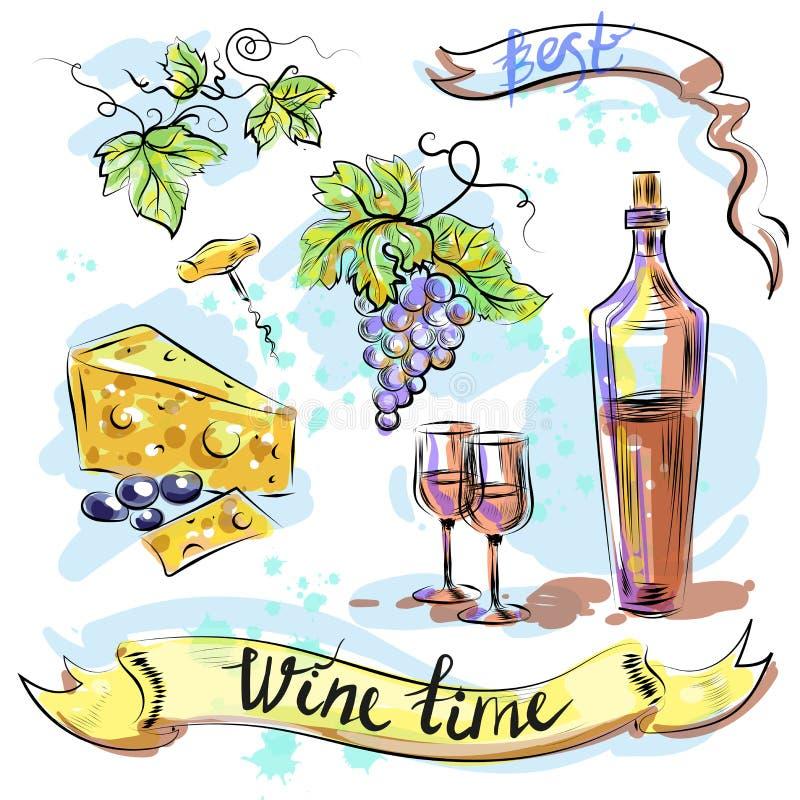 Van het de tijdconcept van de waterverf beste wijn de schets vectorillustratie royalty-vrije illustratie