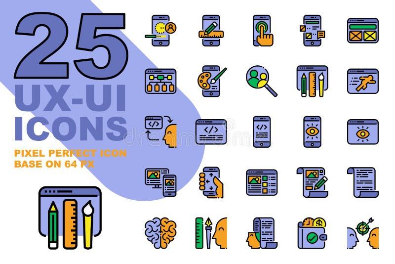 Van het de Toepassingsoverzicht van UX UI de kleurenpictogrammen geplaatst basis op 64px royalty-vrije illustratie