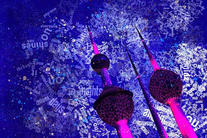 Van het de Torens Hoge Contrast van Koeweit van het de Nachtwater de Kleur en de Tekstblokkenillustratie royalty-vrije illustratie