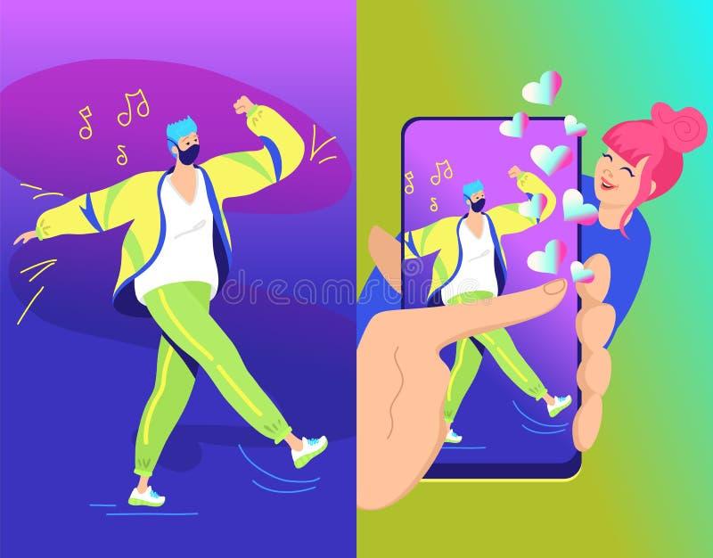 Van het de uitdagingsconcept van het Hashtagduet de vectorillustratie van twee jonge tieners die een grote kauwgom blazen vector illustratie