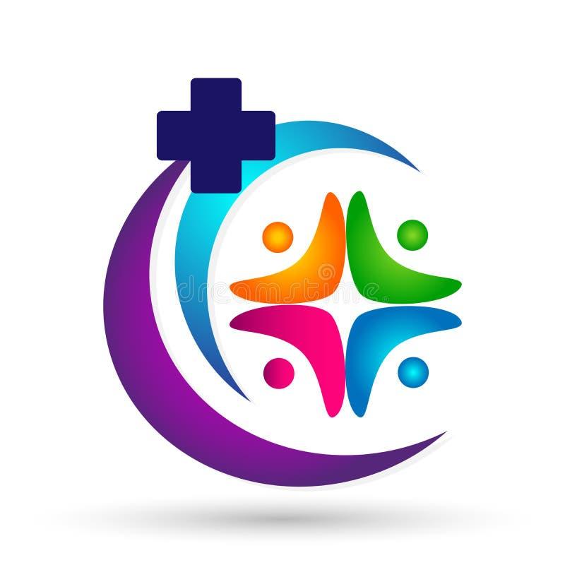 Van het de unieteam van de mensen medische gezondheidszorg van het werkwellness van het het embleempictogram sociale communautair royalty-vrije illustratie