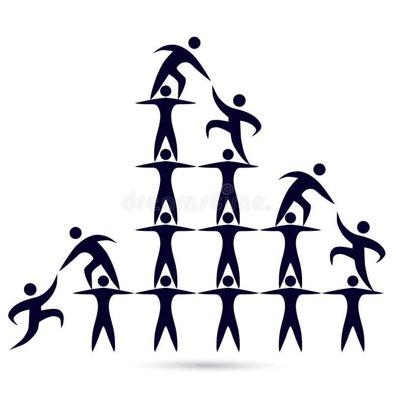 Van het de uniewerk van het teamwerk nuttig het embleemontwerp stock illustratie
