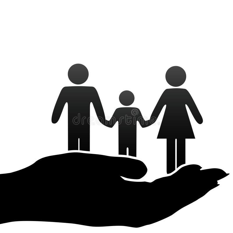 Van het de vaderkind van de moeder de familiesymbolen in tot een kom gevormde hand