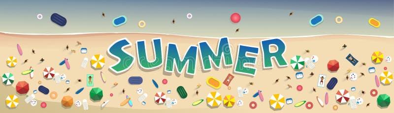 Van het de Vakantie Vastgestelde Zand van het de zomerstrand Tropische de Vakantiebanner vector illustratie