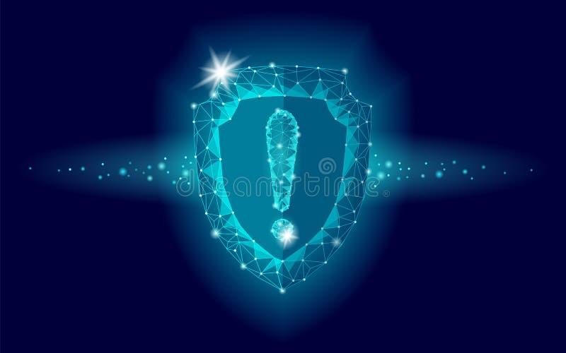 Van het de veiligheidsschild van de Cyberveiligheid het lage polyuitroepteken De veelhoekige geometrische aanval van het virus wa stock illustratie