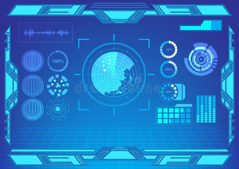 Van het de vertoningsscherm van de Hudinterface de vector van het de radardoel royalty-vrije illustratie
